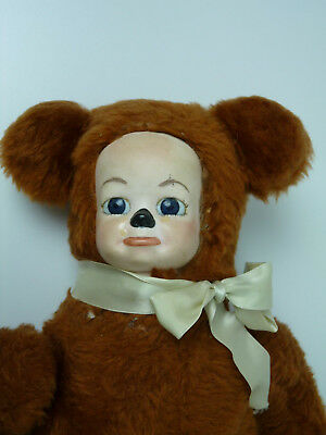 """Vintage Porcelain crying face Teddy Bear,musical 14"""" jointed arms plush 60's 70'"""