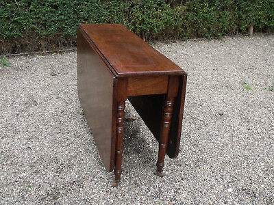 Antique Victorian Mahogany Large Drop Leaf Dining Table With Brass & Pot Caster