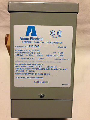 Transformer Acme Electric T181065 Buck Boost 240/480 24/48 500VA Indoor Outdoor