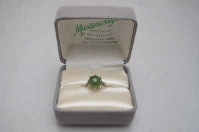 Vintage Nephrite Jade Silver Ring Boxed Size N