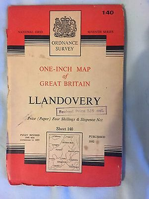 OS Ordnance Survey One-Inch Paper Sheet 140 - Llandovery 1955