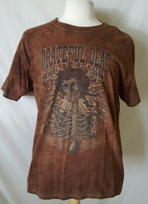 Grateful Dead Shirt Skull and Roses Tie Dye Brown Retro T-shirt Large Unisex