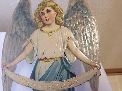 "Victorian Antique Scrap  - CHRISTMAS DIE CUT ANGEL - EXTRA LARGE 14"" tall"