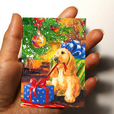 """ORIGINAL ART PICTURE WATERCOLOR PAINTING ACEO """"Puppy and Christmas Tree"""" gift"""