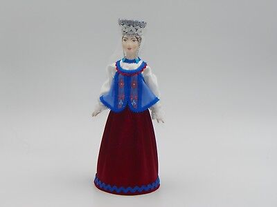 """Collectible Handcrafted 9"""" Russian Porcelain Doll / Handmade Decorative Costume"""