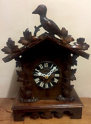 """German 2 Spring Driven Carved Wood Case Cuckoo Mantle Clock GWO 18""""L12""""W 7""""D"""