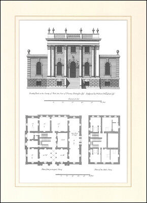 Mounted print engraving picture architectural drawing Rookby Park Yorkshire plan