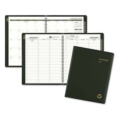 Recycled Weekly/Monthly Classic Appointment Book, 8 1/4 x 10 7/8, Green, 2018