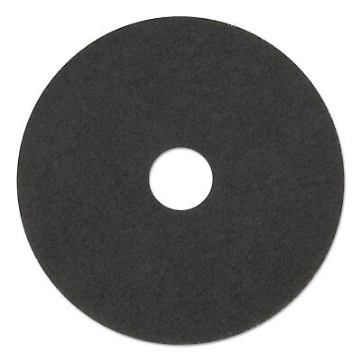 "Standard Stripping Floor Pads, 12"" Diameter, Black, 5/Carton"