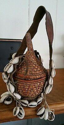 Vtg.  Ethiopian  Handcrafted Basket-Elaborate Shell Work- Leather- Ceremonial?