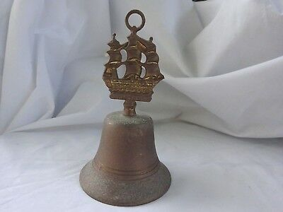 Antique Aged Patina Brass Clipper Ship VICTORY Nautical Dinner Bell ENGLAND