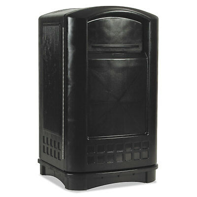 Plaza Indoor/Outdoor Waste Container, Rectangular, Plastic, 50 gal, Black