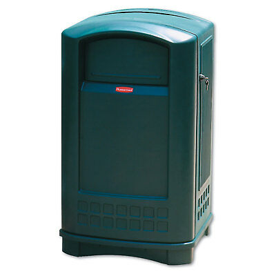 Plaza Indoor/Outdoor Waste Container, Rectangular, Plastic, 50 gal, Green