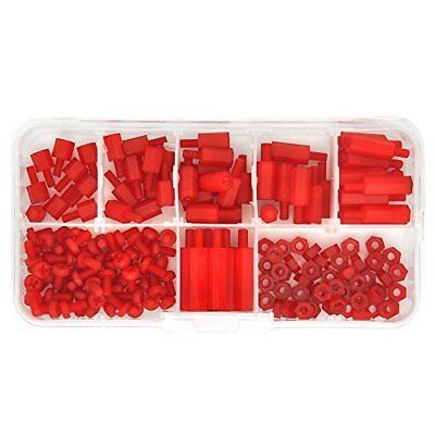 Electronics-Salon M3 Nylon Red Hex Male-Female Standoff Screw Nut Assortment 6mm