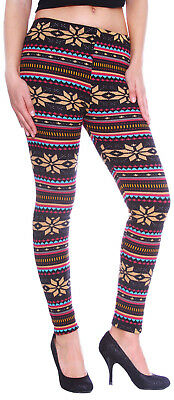 Ladies Women Girls Snowflake Knitted Fleece Lined Leggings Skinny Pencil Pants