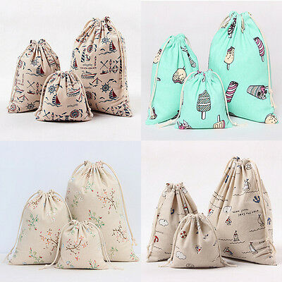 AU Vintage Handmade Travel Cotton Linen Draw String Storage Bag Candy Bags hot