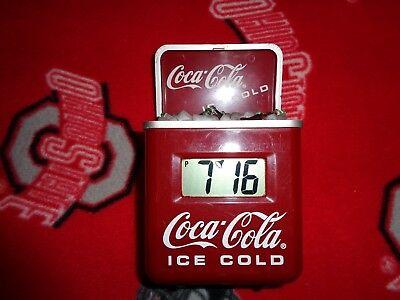 USED Coca Cola Mini ALARM Clock Ice Chest Cooler with coke bottles