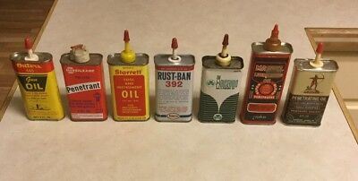 Lot of Seven Assorted Vintage Household Oil Cans