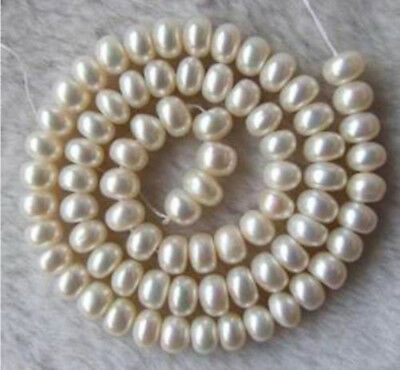 Natural 7-8mm White Freshwater Pearl Rondelle Abacus  Loose Beads 15'' Strands