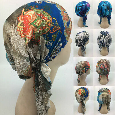 AU Ladies Headcover Indian Stretchy Turban Chemo Hat Head Wrap Pleated Cap