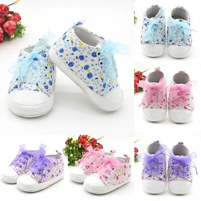 Newborn Kid Toddler Girl Lace Shoelace Soft Sole Sport Sneaker Walking Shoes