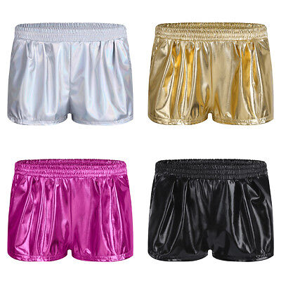 Women Girl Casual Dance Party Hot Short Pants Patent Leather Boxer Workout Yoga