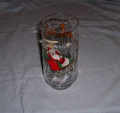 Santa with his Sleigh and Reindeer Flying in the Sky McCrory Coca Cola Glass