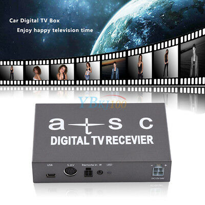 Mini Vehicle Digital TV Receiver Box Analog Tuner Antenna Remote Controller Kit