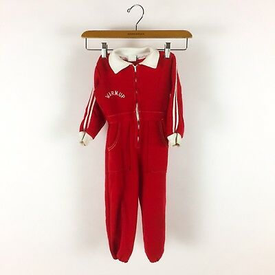 Vintage Toddler 1960s Red One Piece Romper Zip Front Warm Up Jumpsuit Knit 4T