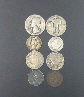 MIXED LOT of VINTAGE COINS WITH A 1927 STANDING LIBERTY QUARTER 1942 WASH QUART