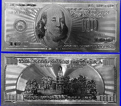Beautiful .999 24kt Pure Silver Plated Polyester US 100 Dollar Banknote