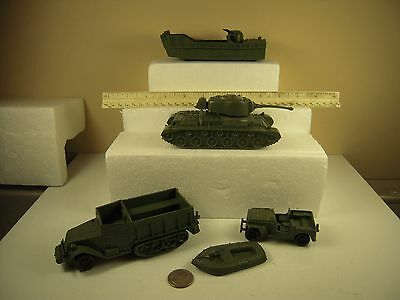 """Vintage Marx WWII """"Vehicle"""" Lot of 5 Different Matched Green"""