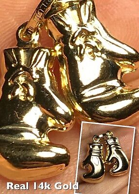 """GOLD Double Boxing Glove Pendant 14K charm necklace Yellow Pair 2.2g 0.65"""""""