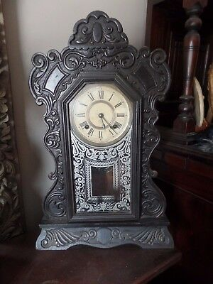 antique  wooden glass ornate carved ANSONIA pendulum   clock working