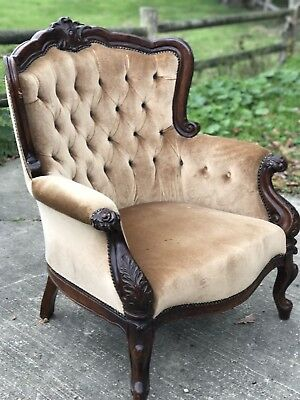 Vintage French Louis XVI Style Armchair, Button Back Wing Chair Queen Anne