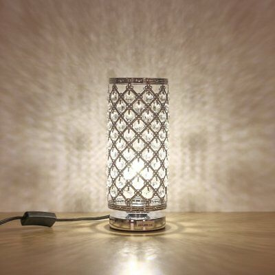 Crystal Table Lamp Decorative Bedside Nightstand Desk Lamp for Bedroom Silver
