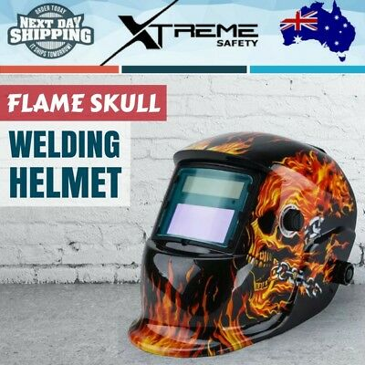 Solar Auto Darkening Welding Helmet ARC/TIG/MIG Welder Machine Mask, Skull Flame