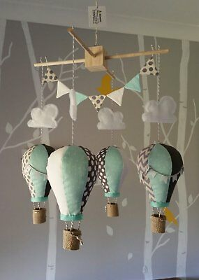 Baby mobile for childs nursery - Hot Air Balloons in Mint Charcoal Grey White