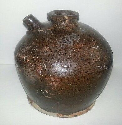 Antique Brown Glaze Chinese ceramic glazed Rice wine storage Jar pot minor chip