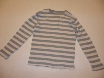 Hanna Andersson Long Sleeve Cotton Gray White Thermal Striped Crew 130 (US 8)