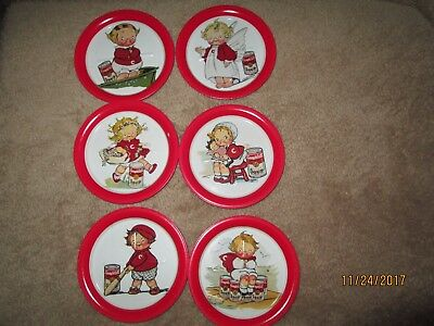 VINTAGE 1993 CAMPBELL'S SOUP KIDS 6 METAL DRINK COASTERS NEW 2 sets