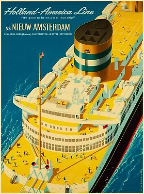 Holland America Line Amsterdam Oceanliner Vintage Cruise Ship Travel Art Poster