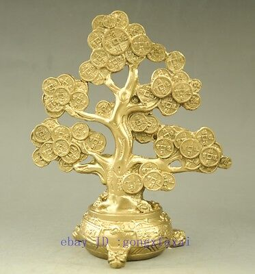 chinese brass Toad money coin Cash cow tree wealth lucky statue