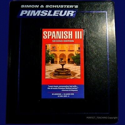 16 CD Pimsleur Learn Speak Conversational spanish Level 3/III Language 30 Lesson