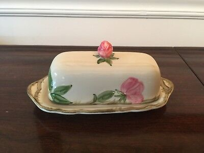 Vintage Franciscan Desert Rose Butter Dish Lid With Finial Made in USA