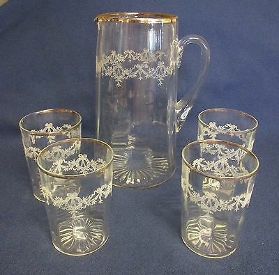 Vintage Victorian Optic Glass Lemonade Water Pitcher Set 4 Glasses Wreath & Swag