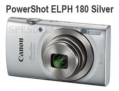 Canon PowerShot ELPH 180 (Silver) w/ 20 MP CCD Sensor and 8x Optical Zoom Camera