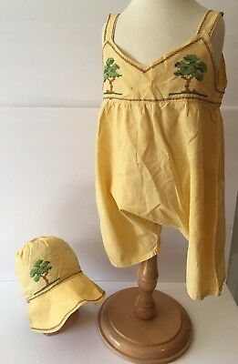 Vintage Yellow Toddlers Girls Embroidered Trees One Piece Shortalls Romper & Hat