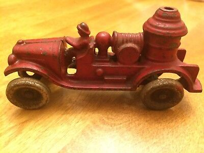 Antique Hubley or Kilgore Toy Red Cast Iron Fire Truck Pumper Engine