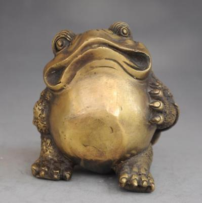 chinese old fengshui pure copper hand-carved Wealth  toad Statue